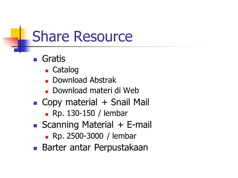 Share Resource Gratis Catalog Download Abstrak Download materi di Web Copy material + Snail Mail Rp. 130-150 / lembar Scanning Material + E-mail Rp. 2