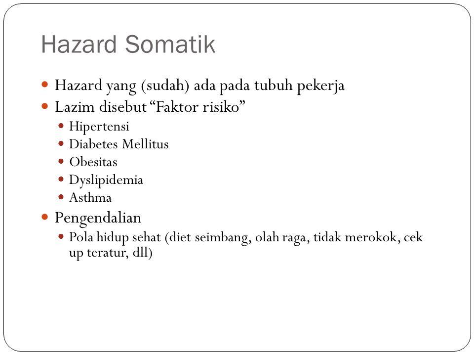 Hazard Lingkungan Fisik Radiasi non pengion: UV light, infra merah, microwave (gelombang mikro) Efek kesehatan: gangguan mata (sementara-permanen), gangguan pada kulit Radiasi pengion: sinar X, sinar α, sinar β, dll Efek akut: syndrom SSP, gangguan pencernaan, gangguan hemopoetik Efek kronis: karsinogenesis, kerusakan genetik Pengendalian: Tempatkan sumber radiasi secara benar (mis: ruang isolasi) Lindungi operator dgn APD