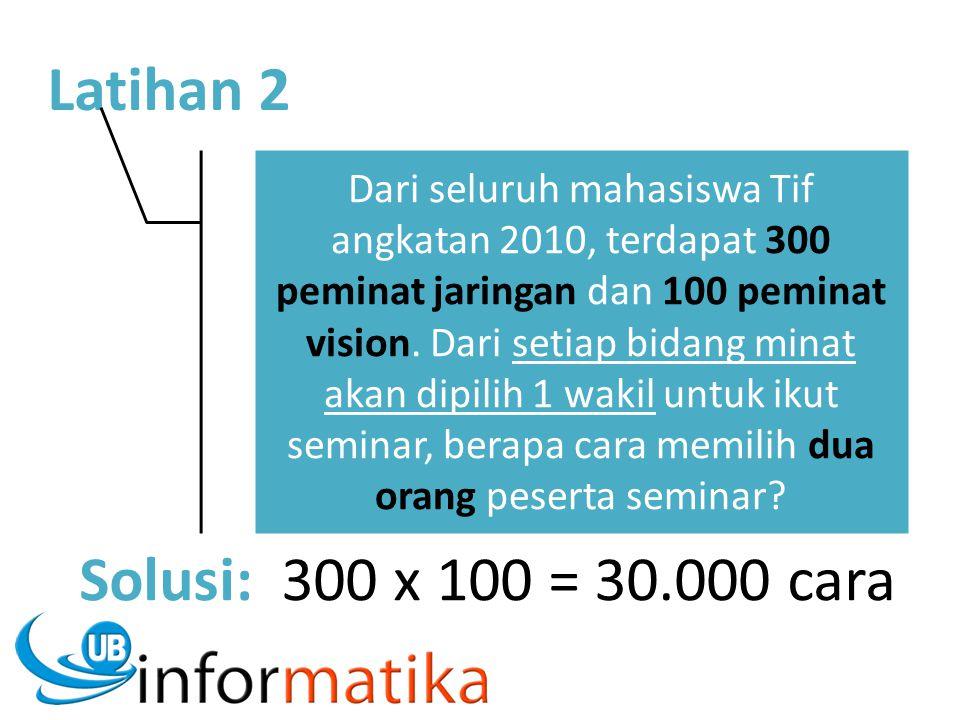 Latihan 2 Dari seluruh mahasiswa Tif angkatan 2010, terdapat 300 peminat jaringan dan 100 peminat vision. Dari setiap bidang minat akan dipilih 1 waki