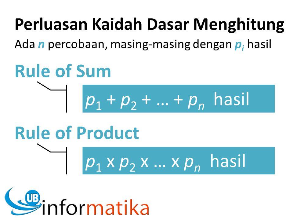 Rule of Sum p 1 + p 2 + … + p n hasil Rule of Product p 1 x p 2 x … x p n hasil Perluasan Kaidah Dasar Menghitung Ada n percobaan, masing-masing denga