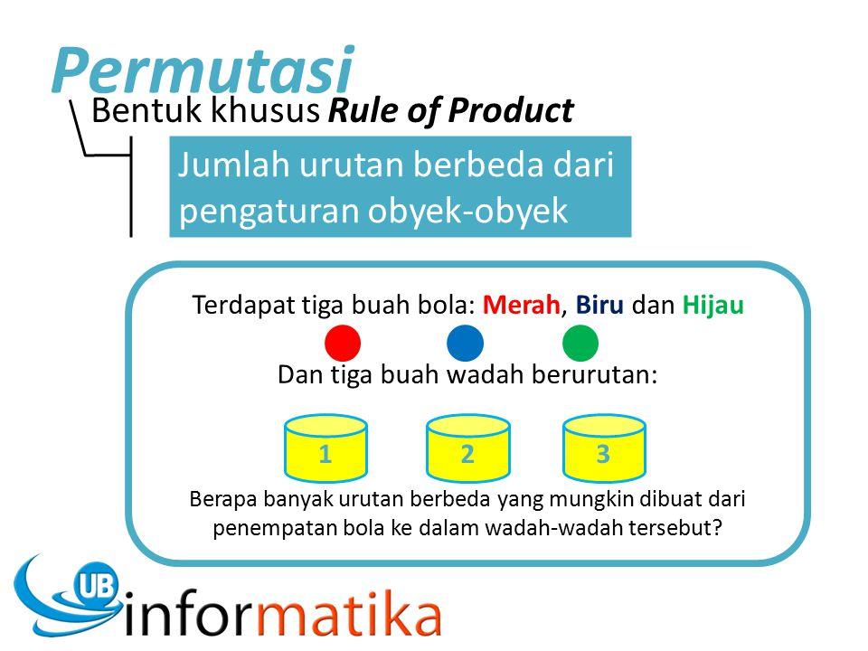Bentuk khusus Rule of Product Permutasi Jumlah urutan berbeda dari pengaturan obyek-obyek Terdapat tiga buah bola: Merah, Biru dan Hijau Dan tiga buah