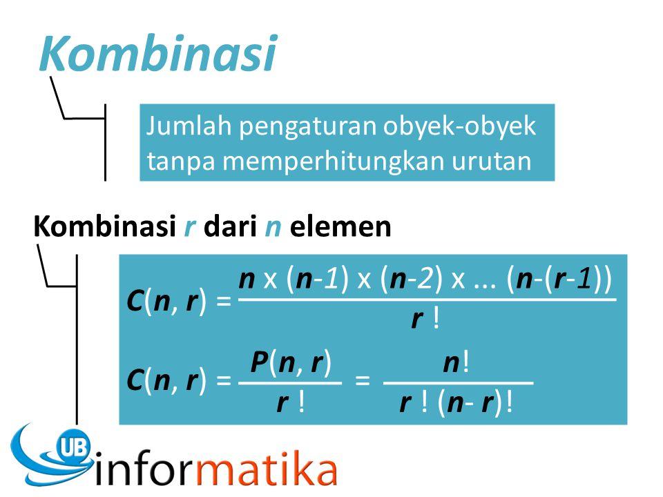 Kombinasi Jumlah pengaturan obyek-obyek tanpa memperhitungkan urutan Kombinasi r dari n elemen C(n, r) = C(n, r) = = P(n, r) r ! n x (n-1) x (n-2) x..