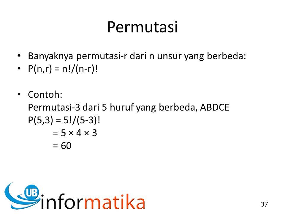 Permutasi Banyaknya permutasi-r dari n unsur yang berbeda: P(n,r) = n!/(n-r)! Contoh: Permutasi-3 dari 5 huruf yang berbeda, ABDCE P(5,3) = 5!/(5-3)!