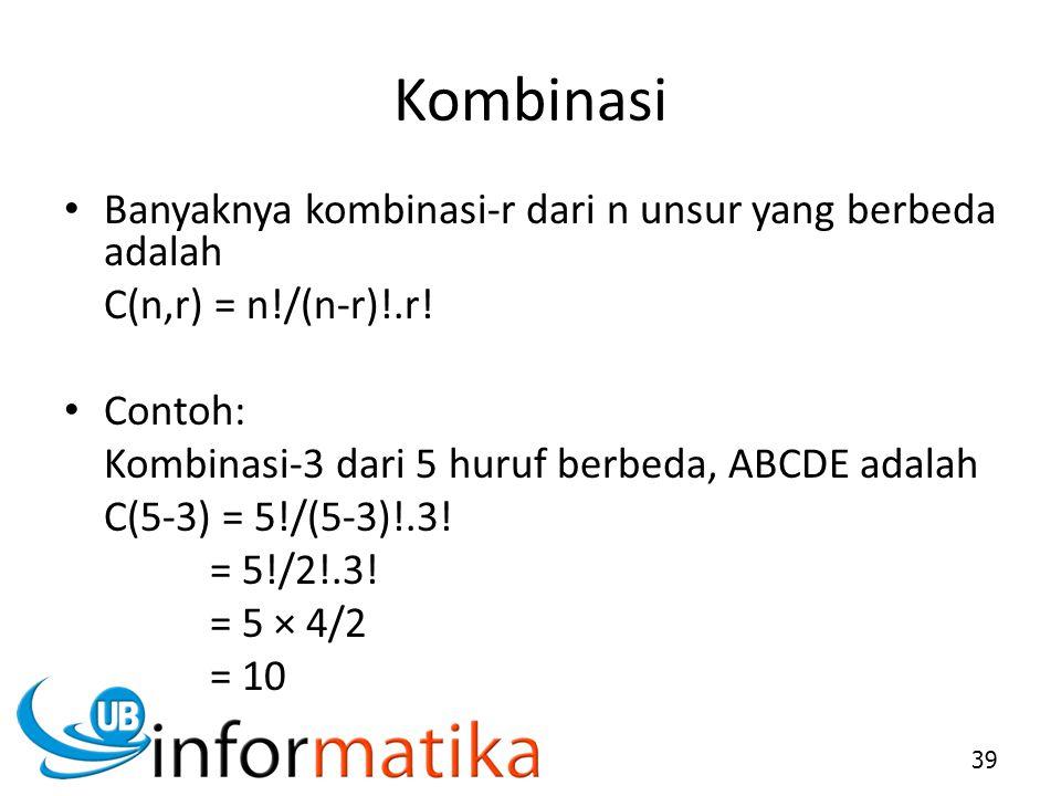 Kombinasi Banyaknya kombinasi-r dari n unsur yang berbeda adalah C(n,r) = n!/(n-r)!.r! Contoh: Kombinasi-3 dari 5 huruf berbeda, ABCDE adalah C(5-3) =