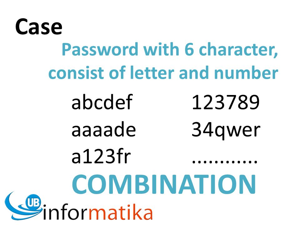 Case Password with 6 character, consist of letter and number abcdef123789 aaaade34qwer a123fr............