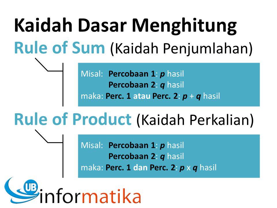 Rule of Sum (Kaidah Penjumlahan) Misal:Percobaan 1: p hasil Percobaan 2: q hasil maka: Perc. 1 atau Perc. 2: p + q hasil Rule of Product (Kaidah Perka