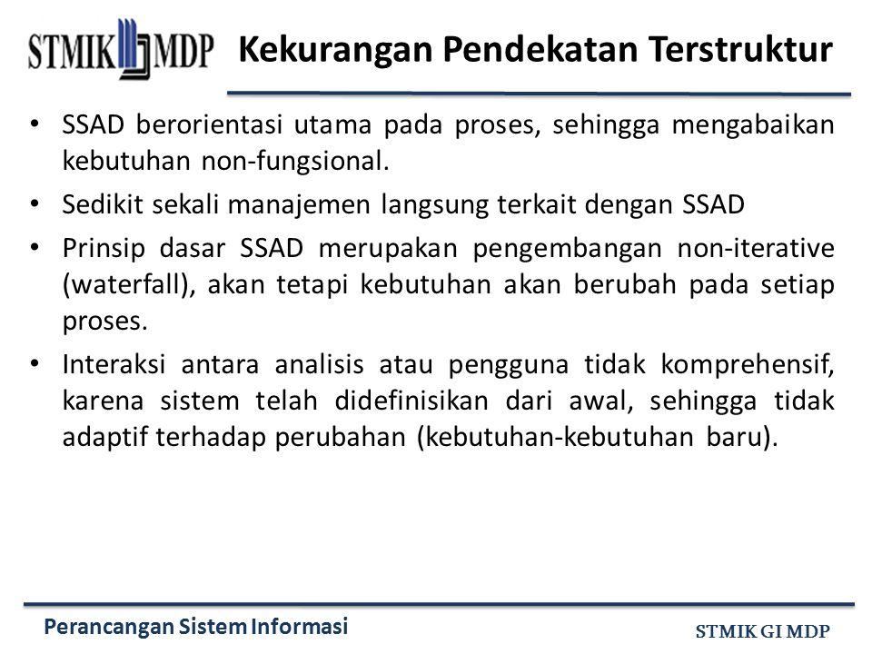 Perancangan Sistem Informasi STMIK GI MDP Kekurangan Pendekatan Terstruktur SSAD berorientasi utama pada proses, sehingga mengabaikan kebutuhan non-fu