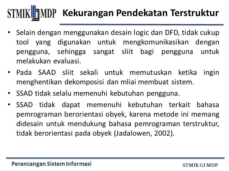 Perancangan Sistem Informasi STMIK GI MDP Kekurangan Pendekatan Terstruktur Selain dengan menggunakan desain logic dan DFD, tidak cukup tool yang digu