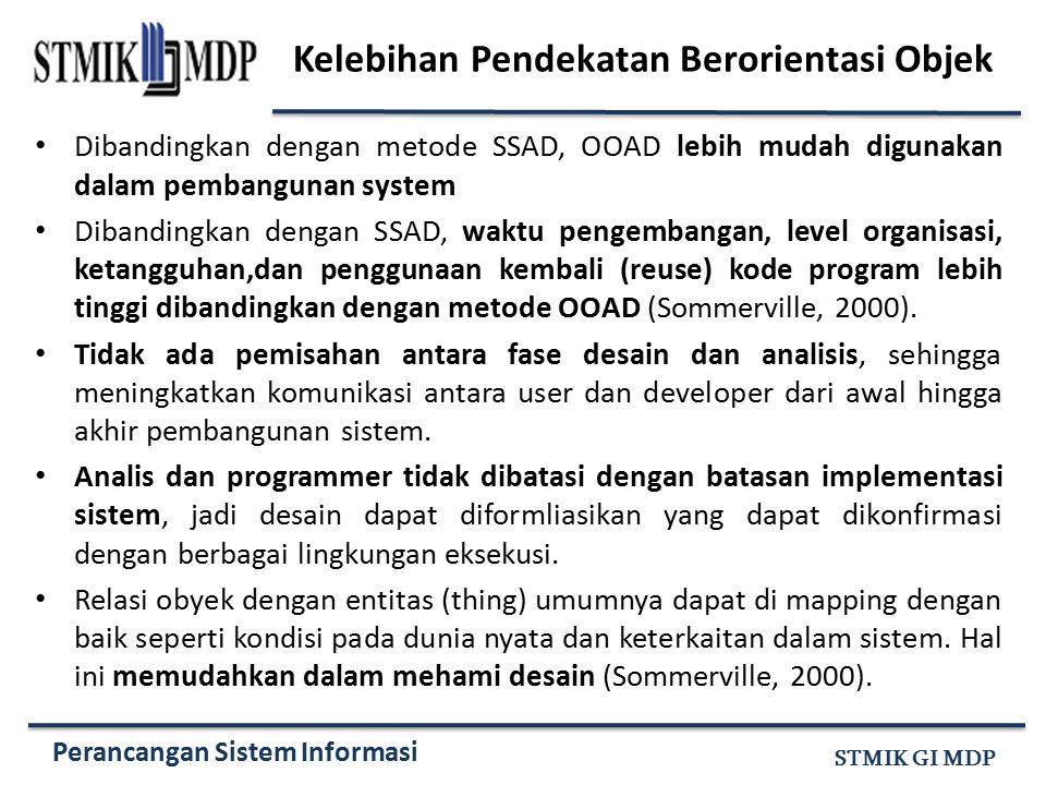 Perancangan Sistem Informasi STMIK GI MDP Kelebihan Pendekatan Berorientasi Objek Dibandingkan dengan metode SSAD, OOAD lebih mudah digunakan dalam pe