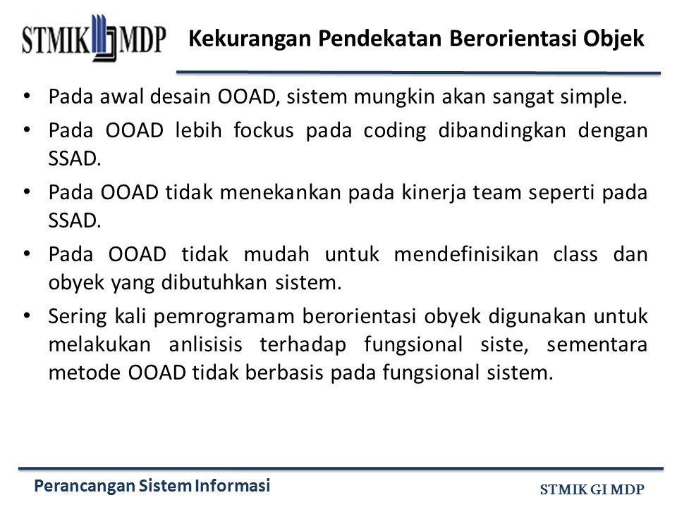 Perancangan Sistem Informasi STMIK GI MDP Kekurangan Pendekatan Berorientasi Objek Pada awal desain OOAD, sistem mungkin akan sangat simple. Pada OOAD