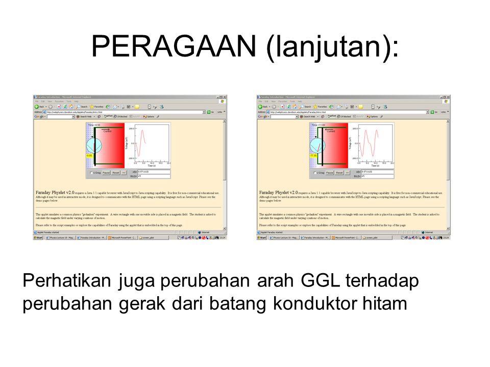 PERAGAAN (lanjutan): Perhatikan juga perubahan arah GGL terhadap perubahan gerak dari batang konduktor hitam
