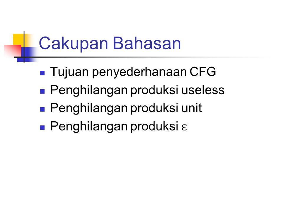 Cakupan Bahasan Tujuan penyederhanaan CFG Penghilangan produksi useless Penghilangan produksi unit Penghilangan produksi ɛ
