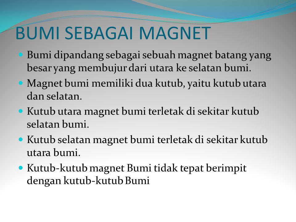 BUMI SEBAGAI MAGNET Bumi dipandang sebagai sebuah magnet batang yang besar yang membujur dari utara ke selatan bumi. Magnet bumi memiliki dua kutub, y