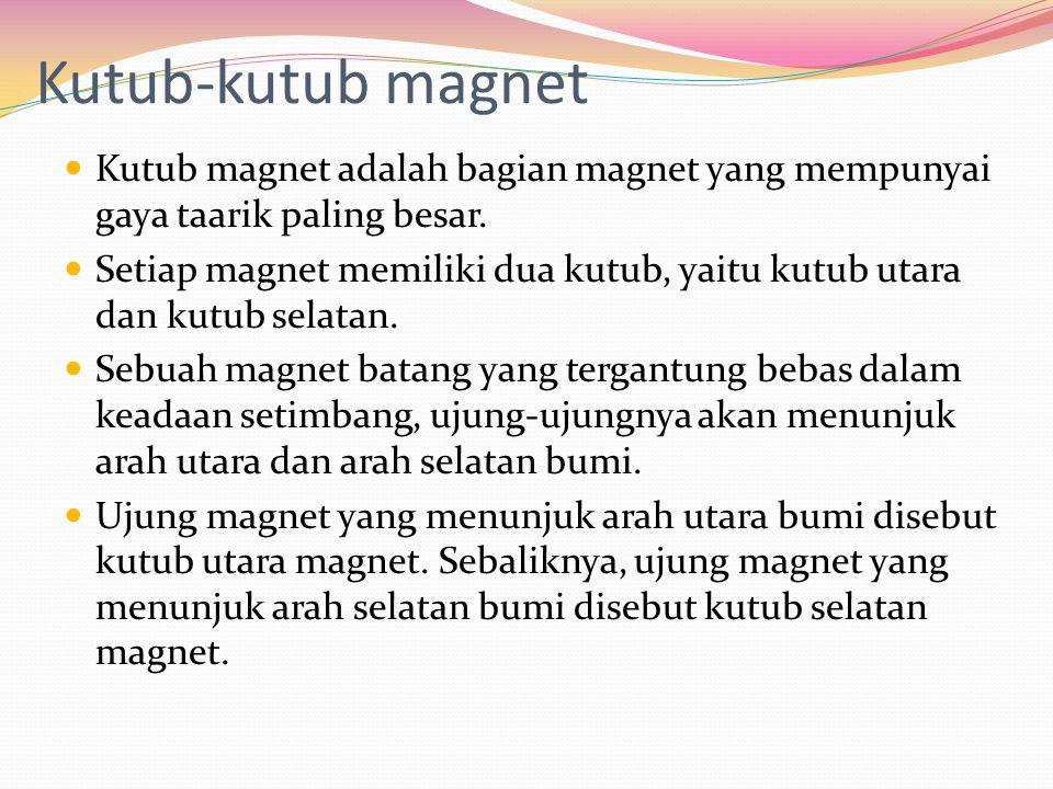 Kutub-kutub magnet Kutub magnet adalah bagian magnet yang mempunyai gaya taarik paling besar. Setiap magnet memiliki dua kutub, yaitu kutub utara dan