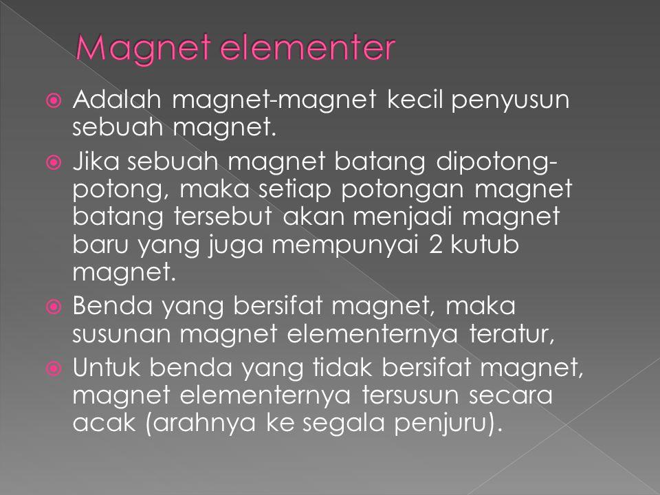  Adalah magnet-magnet kecil penyusun sebuah magnet.  Jika sebuah magnet batang dipotong- potong, maka setiap potongan magnet batang tersebut akan me