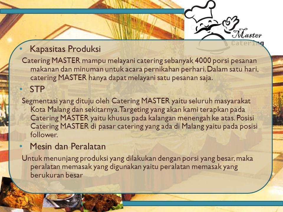 Kapasitas Produksi Catering MASTER mampu melayani catering sebanyak 4000 porsi pesanan makanan dan minuman untuk acara pernikahan perhari. Dalam satu