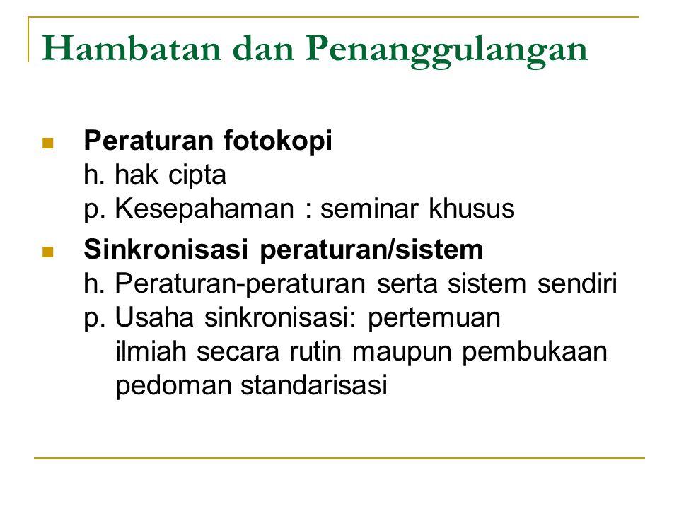 Hambatan dan Penanggulangan Peraturan fotokopi h. hak cipta p. Kesepahaman : seminar khusus Sinkronisasi peraturan/sistem h. Peraturan-peraturan serta