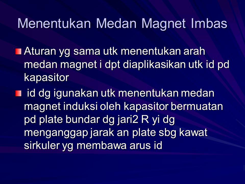 Menentukan Medan Magnet Imbas Aturan yg sama utk menentukan arah medan magnet i dpt diaplikasikan utk id pd kapasitor id dg igunakan utk menentukan medan magnet induksi oleh kapasitor bermuatan pd plate bundar dg jari2 R yi dg menganggap jarak an plate sbg kawat sirkuler yg membawa arus id id dg igunakan utk menentukan medan magnet induksi oleh kapasitor bermuatan pd plate bundar dg jari2 R yi dg menganggap jarak an plate sbg kawat sirkuler yg membawa arus id