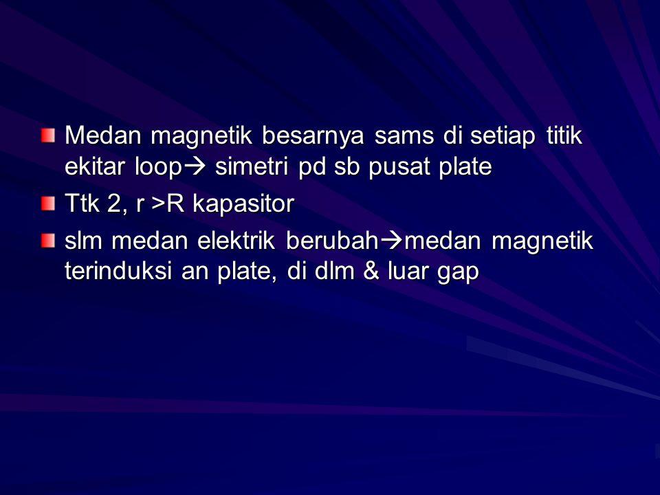 Medan magnetik besarnya sams di setiap titik ekitar loop  simetri pd sb pusat plate Ttk 2, r >R kapasitor slm medan elektrik berubah  medan magnetik terinduksi an plate, di dlm & luar gap