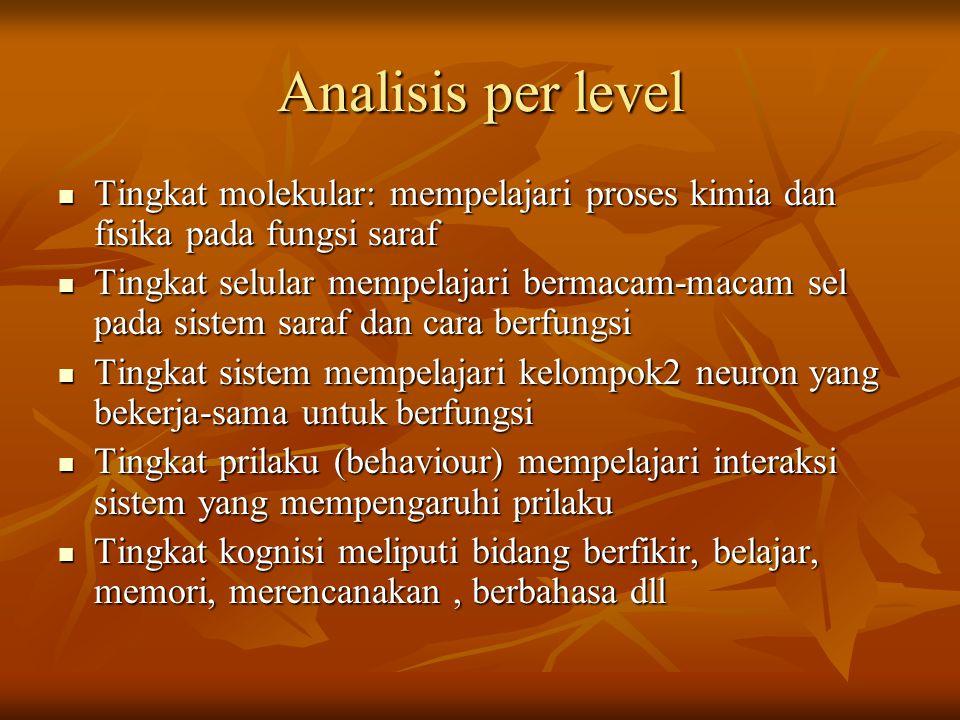 Analisis per level Tingkat molekular: mempelajari proses kimia dan fisika pada fungsi saraf Tingkat molekular: mempelajari proses kimia dan fisika pad