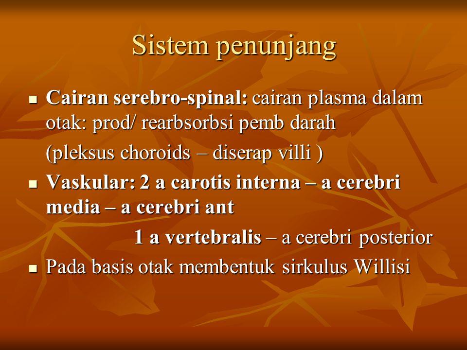 Sistem penunjang Cairan serebro-spinal: cairan plasma dalam otak: prod/ rearbsorbsi pemb darah Cairan serebro-spinal: cairan plasma dalam otak: prod/