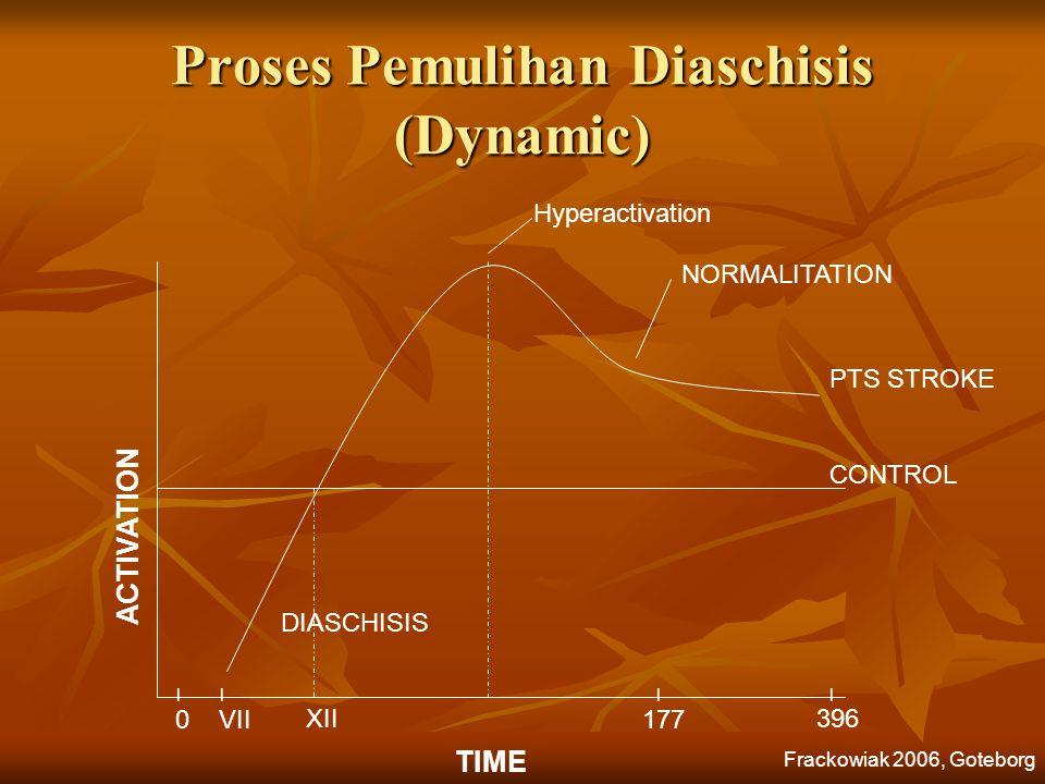 ACTIVATION TIME 0VII XII DIASCHISIS CONTROL NORMALITATION PTS STROKE 177 396 |||| Proses Pemulihan Diaschisis (Dynamic) Hyperactivation Frackowiak 200