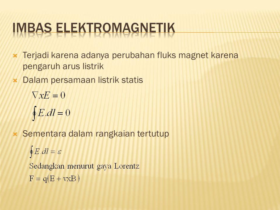  Terjadi karena adanya perubahan fluks magnet karena pengaruh arus listrik  Dalam persamaan listrik statis  Sementara dalam rangkaian tertutup