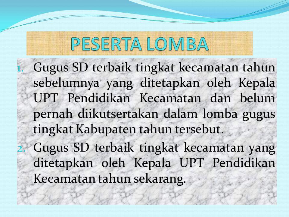 1. Gugus SD terbaik tingkat kecamatan tahun sebelumnya yang ditetapkan oleh Kepala UPT Pendidikan Kecamatan dan belum pernah diikutsertakan dalam lomb