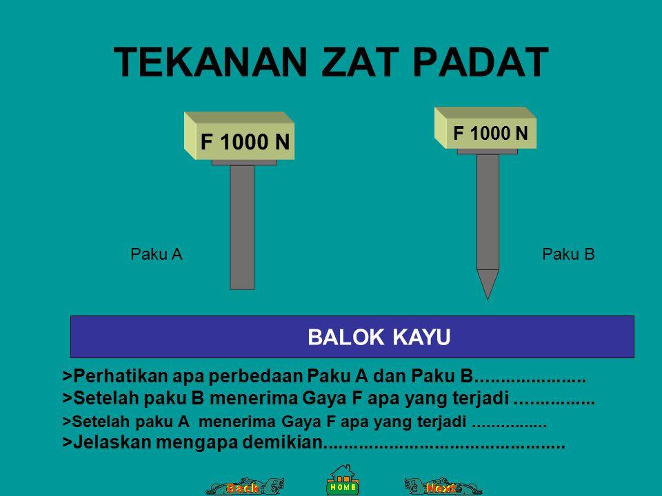 TEKANAN ZAT PADAT BALOK KAYU F 1000 N Paku APaku B >Perhatikan apa perbedaan Paku A dan Paku B...................... >Setelah paku B menerima Gaya F a