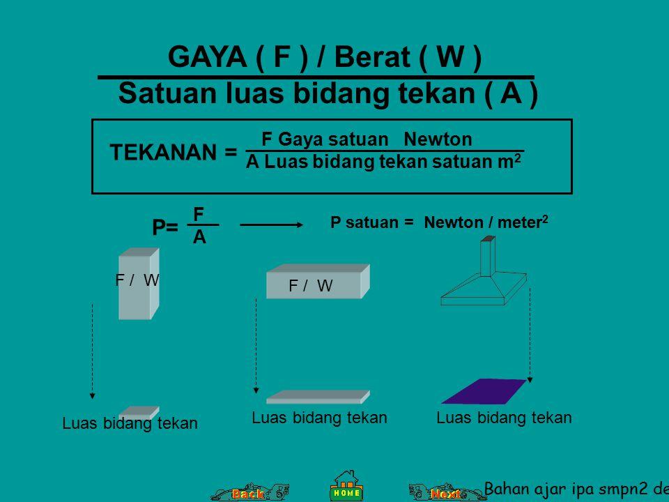 GAYA ( F ) / Berat ( W ) Satuan luas bidang tekan ( A ) P= FAFA F Gaya satuan Newton A Luas bidang tekan satuan m 2 TEKANAN = Luas bidang tekan F / W Luas bidang tekan P satuan = Newton / meter 2 Bahan ajar ipa smpn2 denpasar