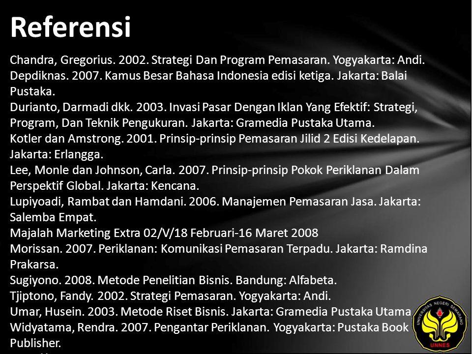 Referensi Chandra, Gregorius.2002. Strategi Dan Program Pemasaran.