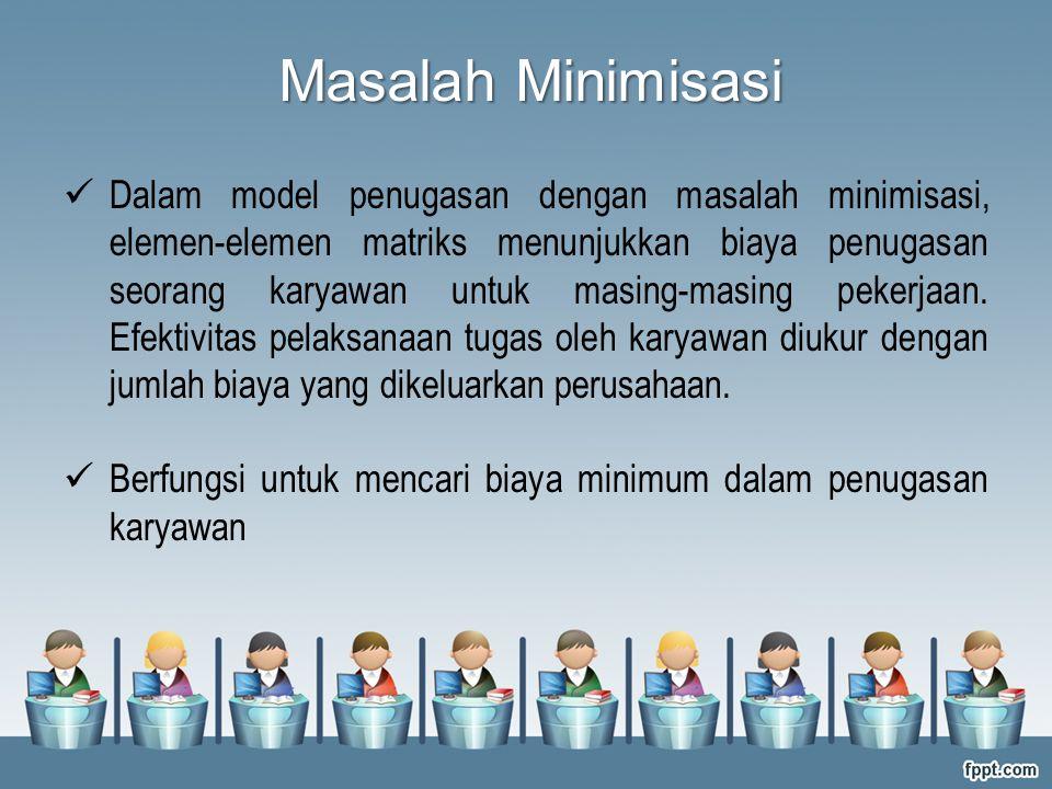 Masalah Minimisasi Dalam model penugasan dengan masalah minimisasi, elemen-elemen matriks menunjukkan biaya penugasan seorang karyawan untuk masing-ma