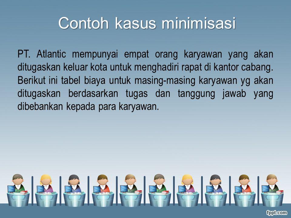 Contoh kasus minimisasi PT. Atlantic mempunyai empat orang karyawan yang akan ditugaskan keluar kota untuk menghadiri rapat di kantor cabang. Berikut