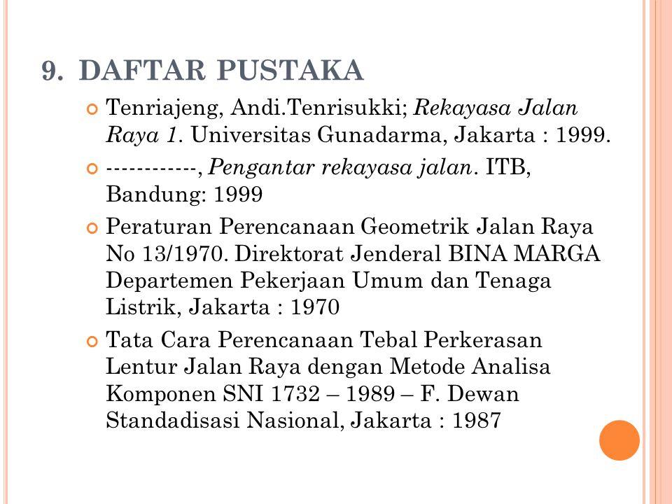 9.DAFTAR PUSTAKA Tenriajeng, Andi.Tenrisukki; Rekayasa Jalan Raya 1. Universitas Gunadarma, Jakarta : 1999. ------------, Pengantar rekayasa jalan. IT