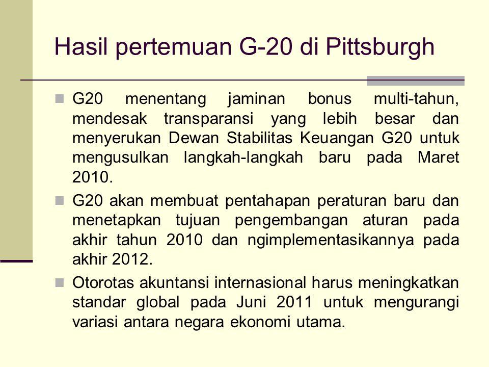 Hasil pertemuan G-20 di Pittsburgh G20, yang menyatukan negara-negara maju dan berkembang, menggantikan G-8 Negara-negara berkembang akan menerima ata