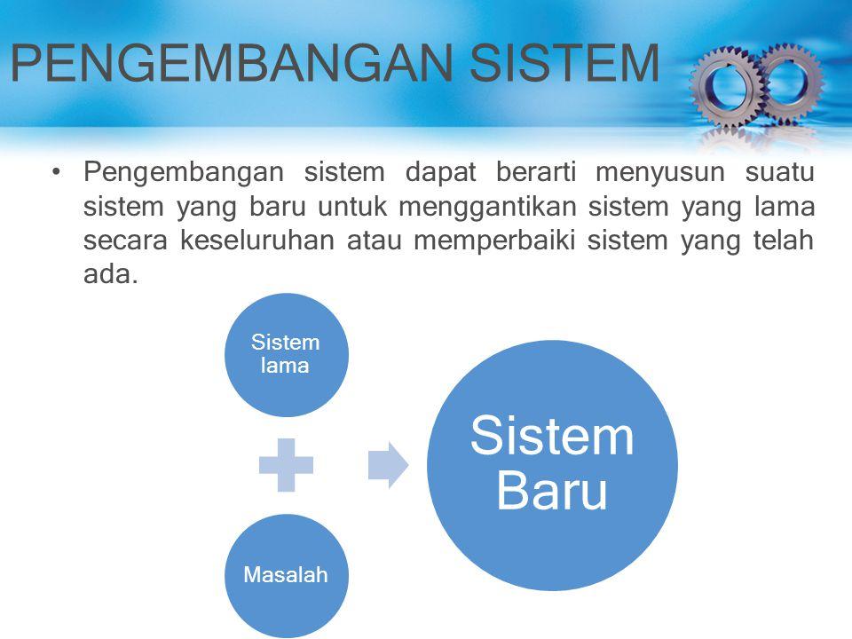PENGEMBANGAN SISTEM Pengembangan sistem dapat berarti menyusun suatu sistem yang baru untuk menggantikan sistem yang lama secara keseluruhan atau memp