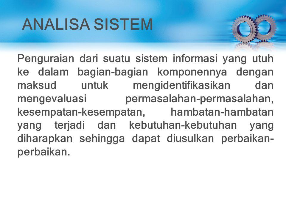 ANALISA SISTEM Penguraian dari suatu sistem informasi yang utuh ke dalam bagian-bagian komponennya dengan maksud untuk mengidentifikasikan dan mengeva