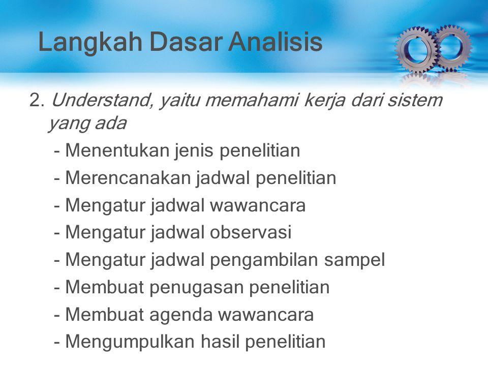 Langkah Dasar Analisis 2. Understand, yaitu memahami kerja dari sistem yang ada - Menentukan jenis penelitian - Merencanakan jadwal penelitian - Menga