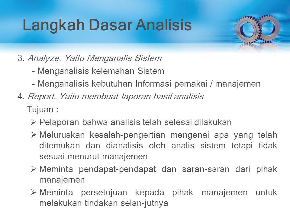 Langkah Dasar Analisis 3. Analyze, Yaitu Menganalis Sistem - Menganalisis kelemahan Sistem - Menganalisis kebutuhan Informasi pemakai / manajemen 4. R