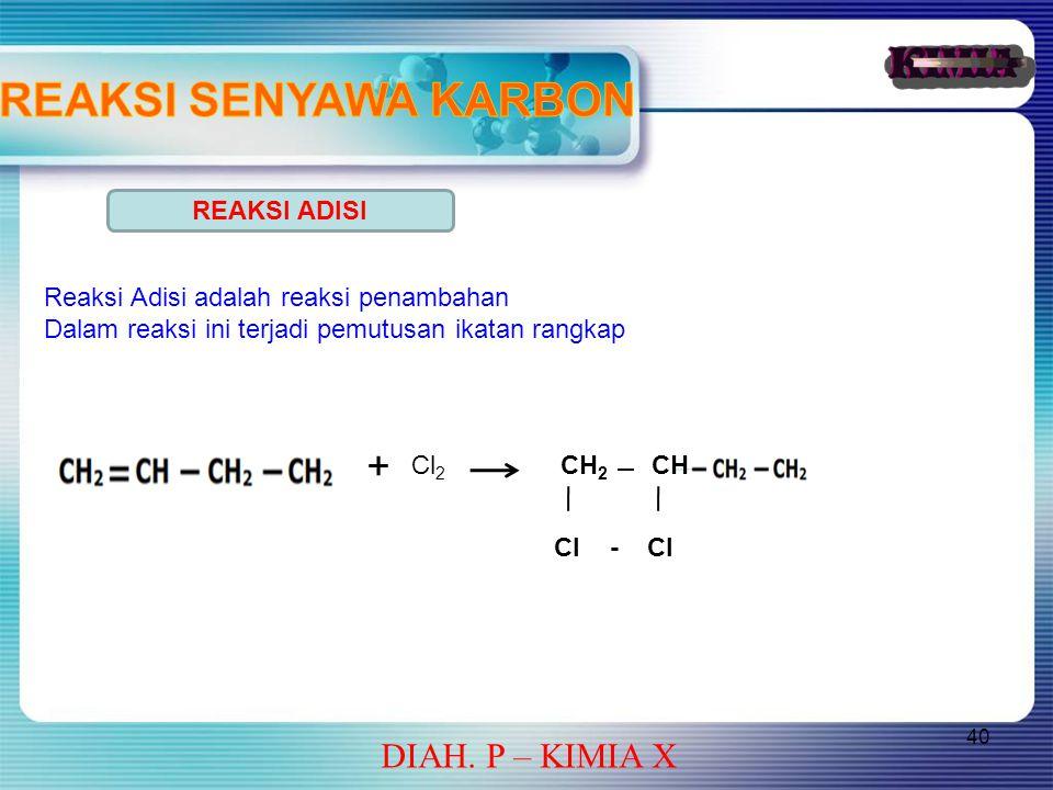 40 DIAH. P – KIMIA X REAKSI ADISI Reaksi Adisi adalah reaksi penambahan Dalam reaksi ini terjadi pemutusan ikatan rangkap + Cl 2 CH 2 CH Cl - Cl