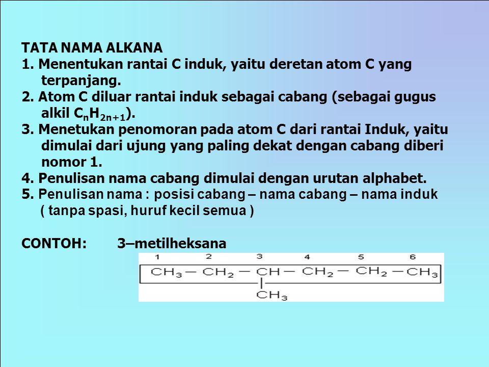 Propana ditulis CH 3  CH 2  CH 3 C3H8C3H8 3 Etana ditulis CH 3  CH 3 C2H6C2H6 2 Metana ditulis CH 4 1 NamaStrukturRumus jumlah atom C RUMUS LENGKAP