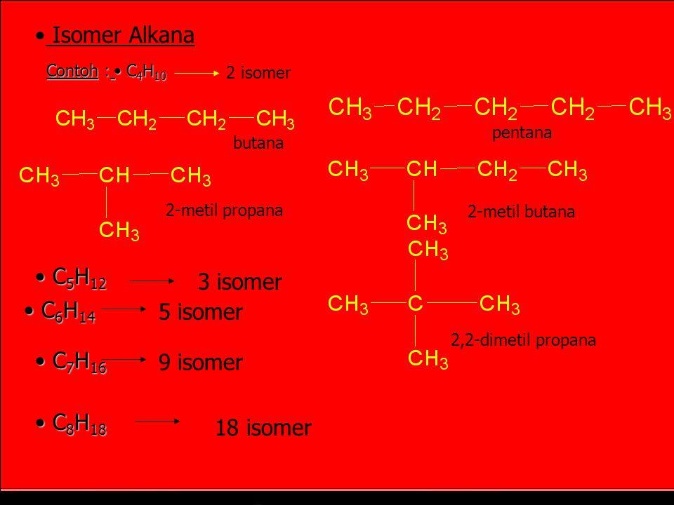 KEISOMERAN ISOMER = Senyawa yang berbeda tetapi mempunyai rumus molekul sama Contoh : Senyawa dengan rumus C5H12 pentana (t.d = 36,1°C) isopentana (2-