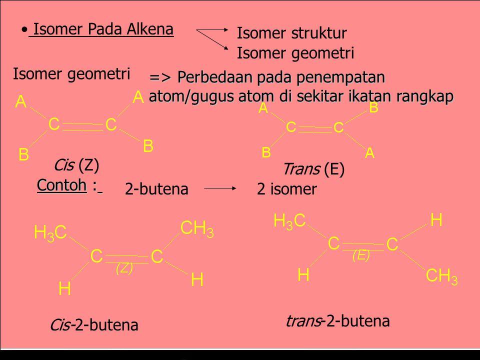 Isomer Pada Alkena Isomer pada alkena bisa terjadi karena perbedaan rantai karbonnya (Isomer rantai / kerangka) atau perbedaan letak ikatan rangkapnya