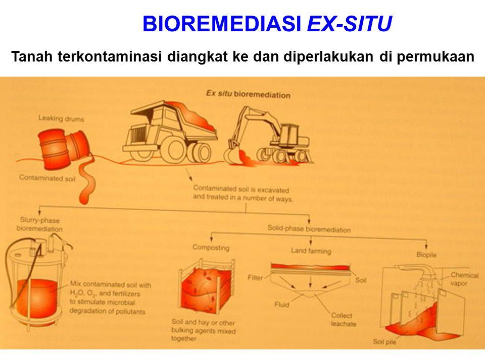 BIOREMEDIASI EX-SITU Tanah terkontaminasi diangkat ke dan diperlakukan di permukaan