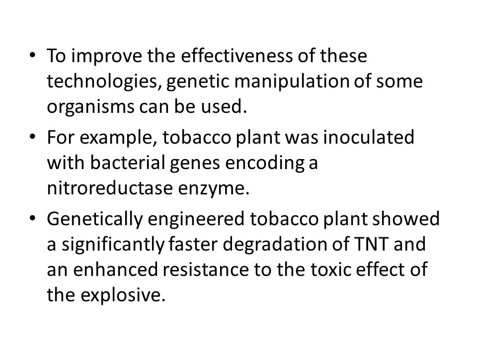 To improve the effectiveness of these technologies, genetic manipulation of some organisms can be used. For example, tobacco plant was inoculated with
