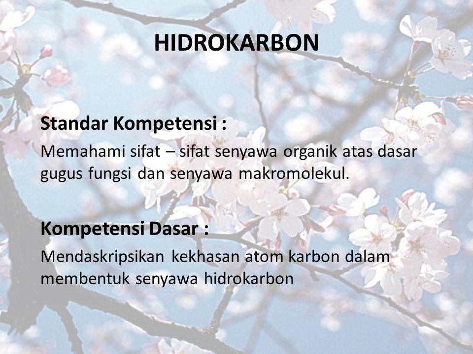 HIDROKARBON Standar Kompetensi : Memahami sifat – sifat senyawa organik atas dasar gugus fungsi dan senyawa makromolekul.