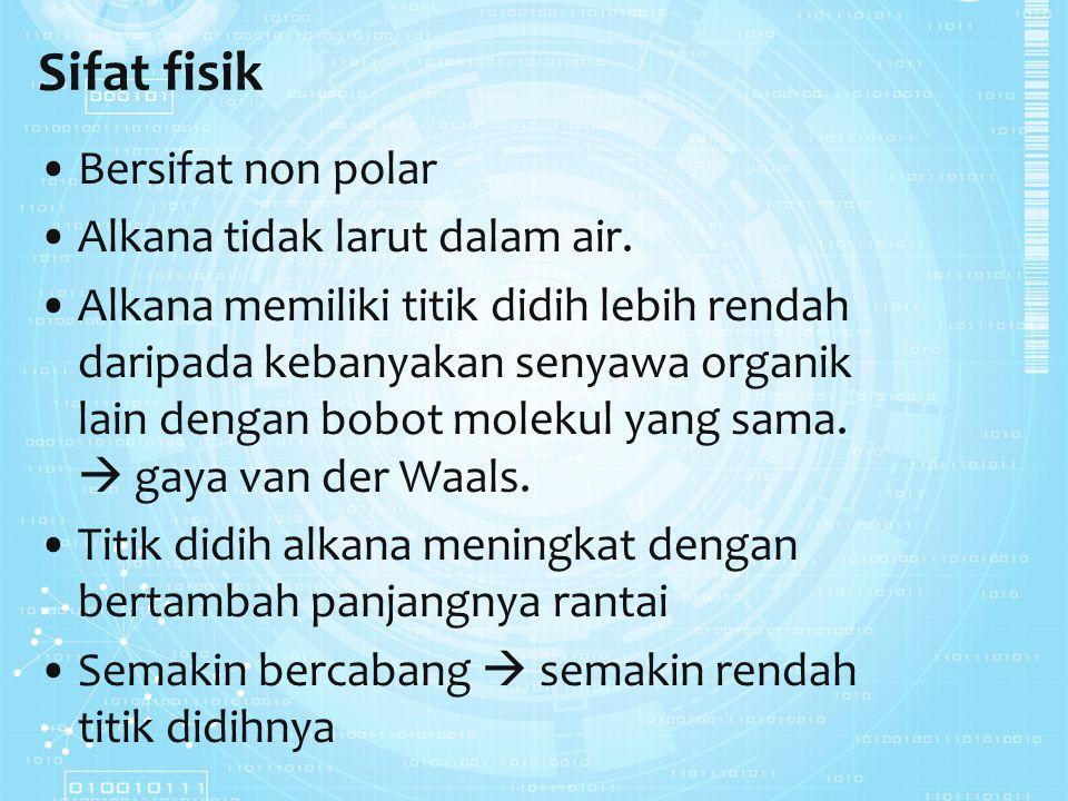 Sifat fisik Bersifat non polar Alkana tidak larut dalam air. Alkana memiliki titik didih lebih rendah daripada kebanyakan senyawa organik lain dengan