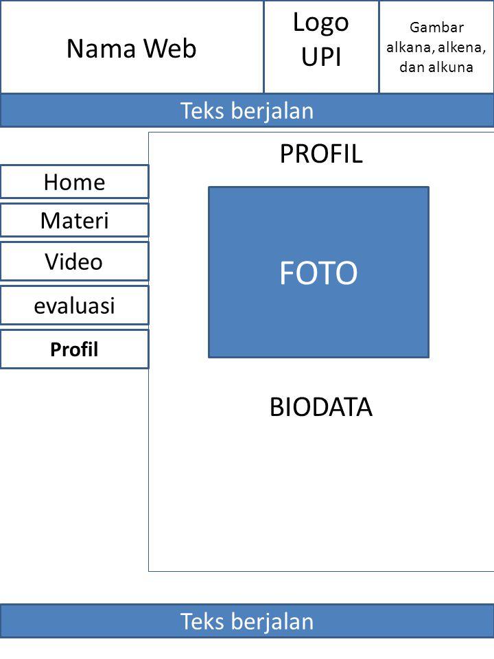 PROFIL BIODATA Nama Web evaluasi Home Video Materi FOTO Profil Gambar alkana, alkena, dan alkuna Logo UPI Teks berjalan