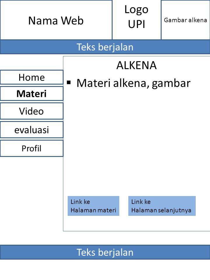 ALKENA  Materi alkena, gambar evaluasi Home Video Materi Profil Nama Web Gambar alkena Logo UPI Teks berjalan Link ke Halaman materi Link ke Halaman
