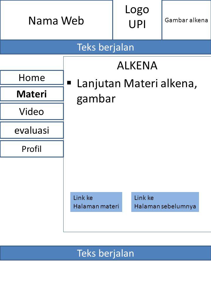 ALKENA  Lanjutan Materi alkena, gambar evaluasi Home Video Materi Profil Nama Web Gambar alkena Logo UPI Teks berjalan Link ke Halaman materi Link ke